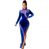Blue Long Sleeve Mesh Velvet Women Maxi Dress
