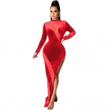 Red Long Sleeve Mesh Velvet Women Maxi Dress