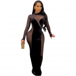 Black Long Sleeve Mesh Velvet Women Maxi Dress