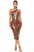 Khaki Sleeveless Halter Leather Women Midi Dress