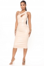 Beige Sleeveless Halter Leather Women Midi Dress