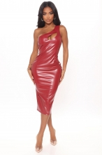 Red Sleeveless Halter Leather Women Midi Dress