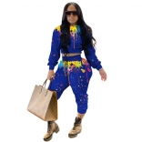 Blue Long Sleeve Printed 2PCS Women Jumpsuit Sets