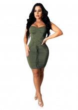 Green Sleeveless Halter Lace-up Bandage Mini Sexy Dress