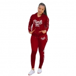 Red Long Sleeve Hoody Printed PINK 2PCS Sports Dress