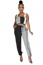 Black Halter Boat-Neck 2PCS Women Fashion Jumpsuit