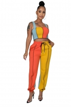 Orange Halter Boat-Neck 2PCS Women Fashion Jumpsuit