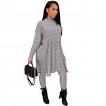 Gray Long Sleeve Fashion Hound-tooth Printed Women Catsuit Dress