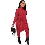 Red Long Sleeve Fashion Hound-tooth Printed Women Catsuit Dress
