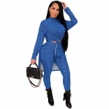 Blue Long Sleeve Fashion Hound-tooth Printed Women Catsuit Dress