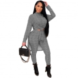 Black Long Sleeve Fashion Hound-tooth Printed Women Catsuit Dress