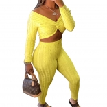 Yellow Long Sleeve Low-Cut V-Neck Women Fashion Jumpsuit
