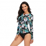 Green Printed Fashion Sexy Surfing Swimming One-Pieces