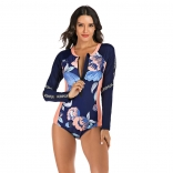RoyalBlue Long Sleeve Printed Surfing Swimwear