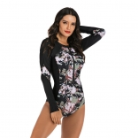 Black Long Sleeve Printed Surfing Swimwear