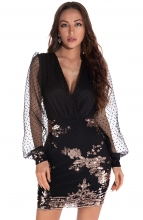 Black Long Sleeve Low-Cut Sequins Bodycons Mini Dress