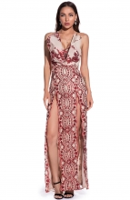 Red Sleeveless V-Neck Sequins Slited Maxi Dress