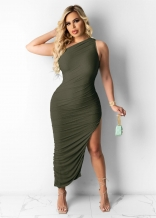 Green Sleeveless Single Halter Sexy Slited Maxi Dress