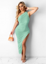 LightGreen Sleeveless Single Halter Sexy Slited Maxi Dress