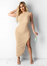 Beige Sleeveless Single Halter Sexy Slited Maxi Dress