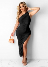 Black Sleeveless Single Halter Sexy Slited Maxi Dress