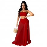 Red Sleeveless Off-Shoulder Mesh 3PCS Maxi Dress