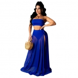 Blue Sleeveless Off-Shoulder Mesh 3PCS Maxi Dress