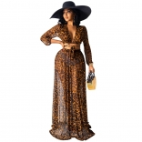 Khaki Leopard V-Neck Printed Long Sleeve Maxi Dress