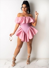 Pink Off-Shoulder Women Club Sexy Pleated Skirt