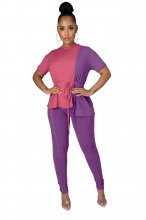 Purple Short Sleeve Fashion 2PCS Women Sexy Jumpsuit