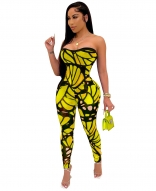 Yellow Off-Shoulder Low-Cut Printed Women Sexy Jumpsuit