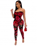 Red Off-Shoulder Low-Cut Printed Women Sexy Jumpsuit