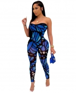 Blue Off-Shoulder Low-Cut Printed Women Sexy Jumpsuit