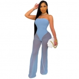 Blue Off-Shoulder Mesh Women Sexy Jumpsuit