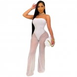White Off-Shoulder Mesh Women Sexy Jumpsuit