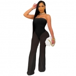 Black Off-Shoulder Mesh Women Sexy Jumpsuit