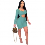 Green One-Sleeve Mesh Low-Cut Sexy Women Mini Dress