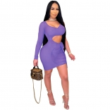 Purple One-Sleeve Mesh Low-Cut Sexy Women Mini Dress
