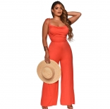 Orange Sleeveless Back Hollow-out Halter Women Jumpsuit