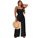 Black Sleeveless Back Hollow-out Halter Women Jumpsuit