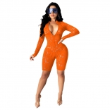 Orange Long Sleeve Hollow-Out V-Neck Women Rompers