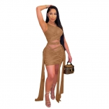 Khaki Sleeveless Mesh Bandage Women Sexy Bodycons Mini Dress