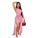 Pink Sleeveless Mesh Bandage Women Sexy Bodycons Mini Dress
