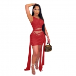 Red Sleeveless Mesh Bandage Women Sexy Bodycons Mini Dress