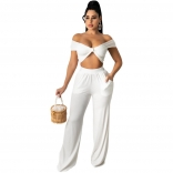 White Sleeveless V-Neck 2PCS Women Jumpsuiit