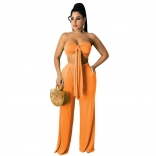 Orange Sleeveless V-Neck 2PCS Women Jumpsuiit
