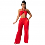Red Sleeveless V-Neck 2PCS Women Jumpsuiit