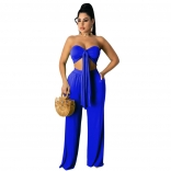 Blue Sleeveless V-Neck 2PCS Women Jumpsuiit