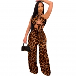 Brown Sleeveless Low-Cut Printed Women Backless Jumpsuit