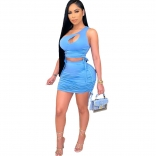 Blue Sleeveless Halter Pleating 2PCS Women Sexy Bodycon Dres